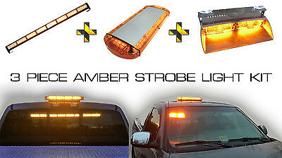 Amber Emergency Security LED Light Kit Windshield Dash Strobe Warning Lights Kit