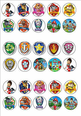 Paw Patrol Edible Rice Wafer Paper Cupcake Cake Toppers Children Birthday Party