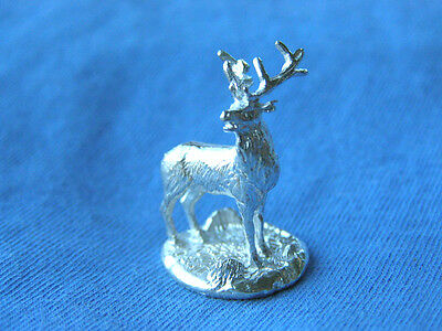 Miniature Hallmarked Silver Model Of A Stag Deer