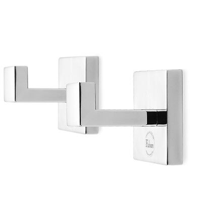 2PCS Stainless Steel Door Hanger Mirror Polish Robe Hook Square Wall Mount Towel