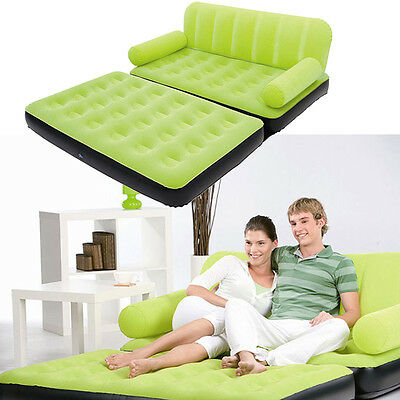 Multi Inflatable Pull-Out Sofa Couch Full Double Air Bed Mattress Sleeper Green