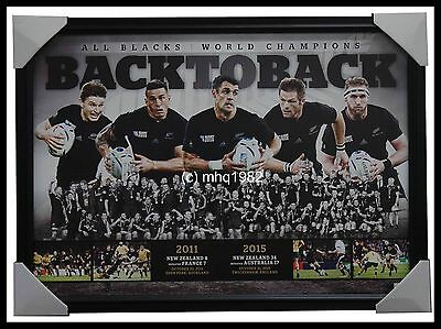 All Blacks 2011 2015 World Cup Champions Back To Back Print Framed Carter Mccaw