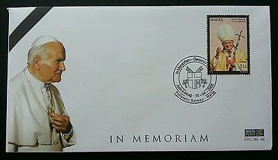 Malta In Memorial Gwanni Pawlu II 2005 Pope Religion Culture Leader (stamp FDC)