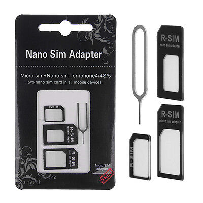 4IN1 Convert Nano SIM Card to Micro/Standard Adapter For iPhone 6 5S 5 5C 4S 4