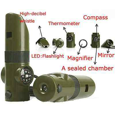 7 in1 Camping Survival Walkabout Whistle CompassThermometer  LED Light Magnifier