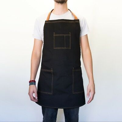 Black Denim Apron Tools Woodwork Barber Hair Stylist Artist Chef Grilling