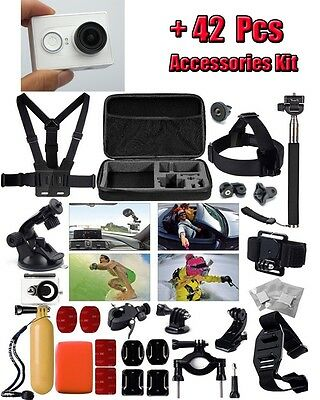 42 in 1 Accessories Waterproof Case Chest Head Strap+Xiaomi yi Action Camera DVR