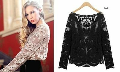 New Women Sexy Semi Sheer Long Sleeves Embroidery Floral Lace Crochet Top Blouse