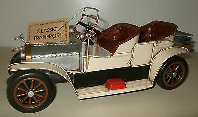 Tin Plate Model of a Classic Transport Cream Motorcar/Ornament/Gift