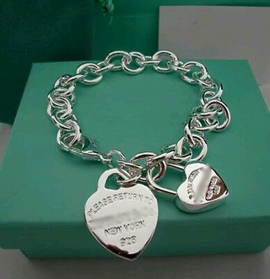 2 Heart & Chain Bracelet Bangle - 925 Stamped Silver christmas lady men gift bag