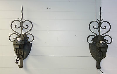 Pair Of Large Electified Antique Iron Wall Sconce Lights Working Condition