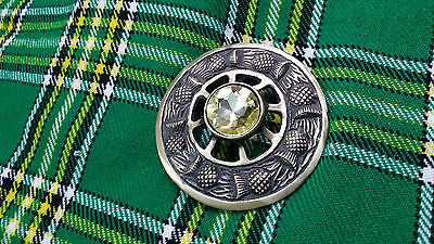 "Mens Fly Plaid Brooch Antique Finish Yellow Stone 3""/Scottish Fly Plaid Brooches"