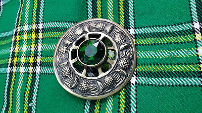 "Mens Fly Plaid Brooch Antique Finish Green Stone 3""/Scottish Fly Plaid Brooches"