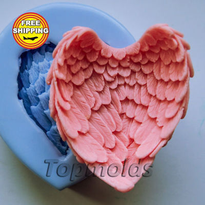 Wings 3D soap mold Food-grade silicone baby mold angel mold Free shipping