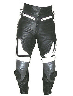 Mens Leather Racing Motorcycle Pant With Armors #2569 New All Sizes