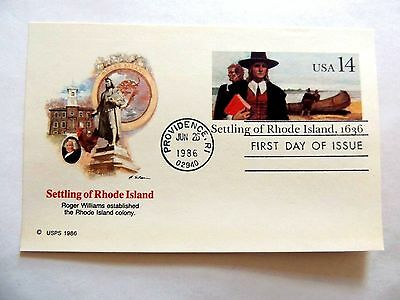 """June 26th, 1986 """"Settling Of Rhode Island"""" First Day Issue Postcard"""