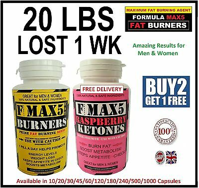 Fmax5 Fat Burners & Raspberry Ketone Weight Loss Slimming Diet Pills Max Combo