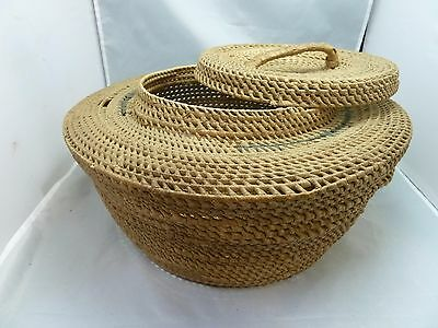 """Native American Large Weave Basket w/ Cover. Nice Design. Approx. 7"""" T x15"""" D"""