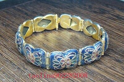 Antique Collectible Handmade Chinese Gold Cloisonne Bracelet