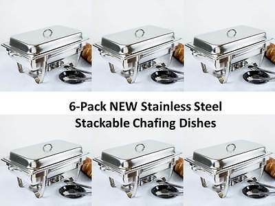 6-Pack NEW Choice Full Size 8 Qt. Stackable Stainless Steel Chafing Dishes