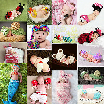 Newborn Baby Cute Knit Crochet Beanie Outfits Toddler Photography Props Costume