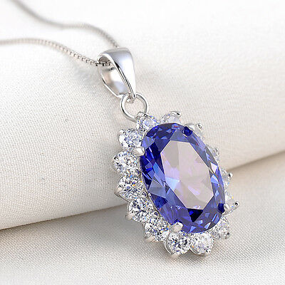 6.42 Ct Oval Tanzanite Blue Sapphire 925 Sterling Silver Pendant Chain Necklace