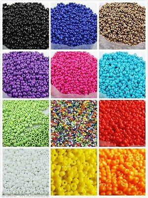 1000pcs 15g 2mm Round Opaque Lot Colorful Glass Czech Seed Beads Jewelry Making
