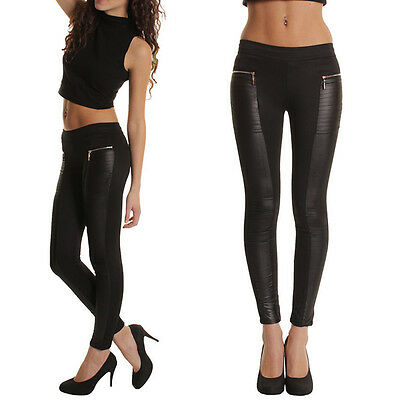 New Women Winter Warm Leather Leggings Stretch Skinny Pants Trousers Footless