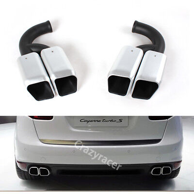 Silver Tail Exhaust Tips Muffler Pipe for Porsche Cayenne V6 11-14