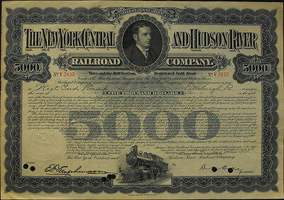USA Amerika New Central and Hudson River Railroad gold bond 5000 Dollar 1935
