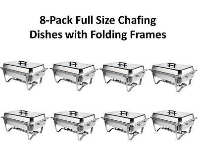 8-Pack Choice Full Size 8 Qt. Stainless Steel Chafing Dishes with Folding Frames