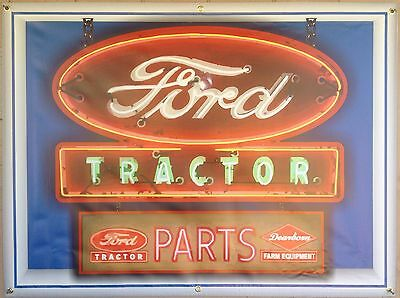 Ford Tractor Neon Style Banner Sign Large Custom Garage Art Mural New 4' X 3'