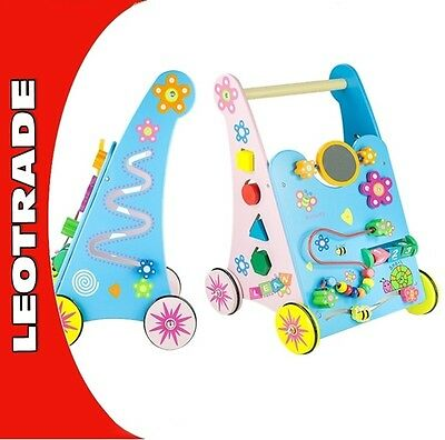 Wooden Baby Walker Push Along with Mirror 59 cm Lots Of Features Toddler Toy