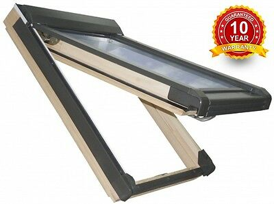 Wooden Pine Top Hung Skylight Roof Window 55 x 98cm Rooflight FREE Roller Blinds