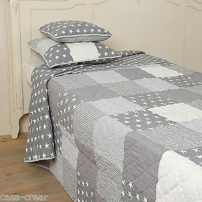 Clayre & Eef Tagesdecke Patchwork Decke GREY STARS Quilt 180x260 Shabby Vintage