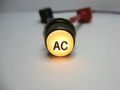 """Vintage Panel Mount Indicator Light ½"""" Yellow Lens Inscribed with Letters """"AC"""""""