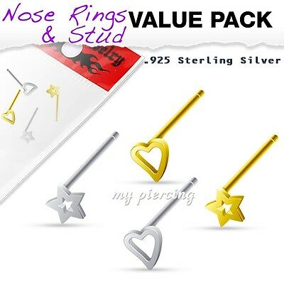 4 Pcs Value Pack of Assorted Sterling Silver Bendable 3mm Star & Heart Nose ring