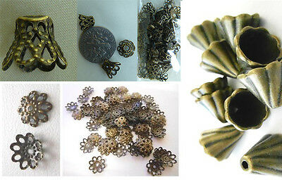 antique bronze bead cap findings quantity packs choice of 3 styles low cost