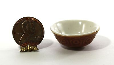Dollhouse Miniature Vintage Brown Ceramic Mixing Bowl