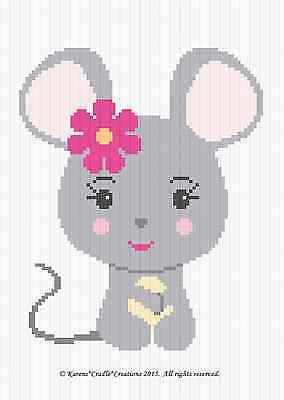 Crochet Patterns - MOUSE BABY GIRL Graph/Chart afghan pattern *EASY*