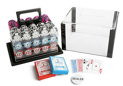 600 Chips Poker Game Set Acrylic Case The Star 14g Chips 100% Plastic Cards