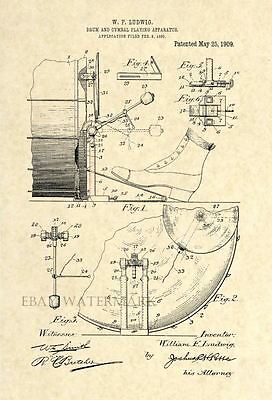 Official Ludwig Drum Cymbal US Patent Art Print - Circa 1909 -Vintage Antique 79