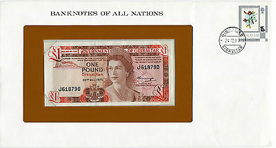 1980 Banknotes of All Nations Gibraltar One Pound Banknote P-20a Prefix J UNC