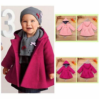 Toddler Kids Baby Girl Winter Trench Coat Hooded Button Outerwear Jacket Clothes