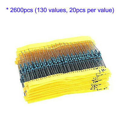 2600pcs 130 Values 1/4W 0.25W Metal Film Resistors Kit Resistance Assortment Set