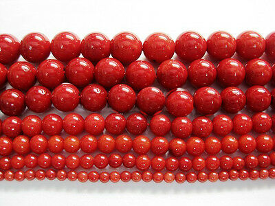 New Red Natural Coral Gemstone Round Spacer Beads 16'' 4mm 6mm 8mm 10mm 12mm Hot