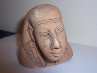 Antique Stone Carved Egyptian Pharoah Figural Head Bust Sculpture