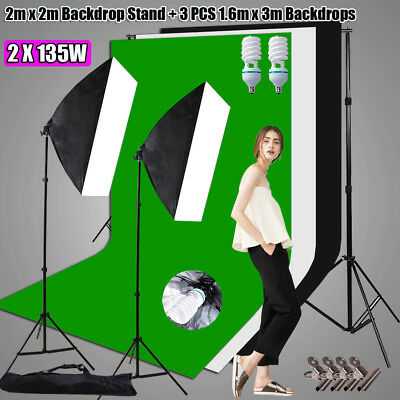 Photography Studio Softbox Lighting Photo Soft Box Light Stand 3 Backdrops Set
