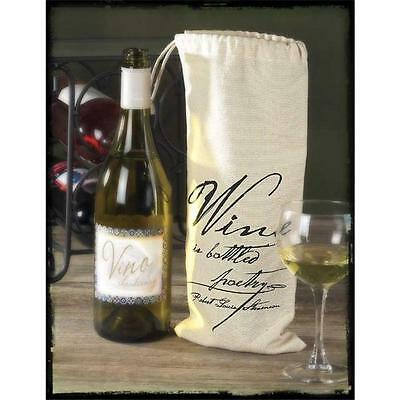 Jozie B 228020 Cavas Drawstring Wine Sack Pack of 2