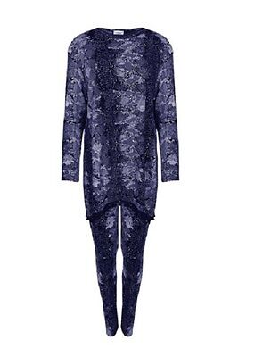 Ladies Womens Blue Snake Print POM POM Tracksuit Lightweight Jog Gym Lounge Suit